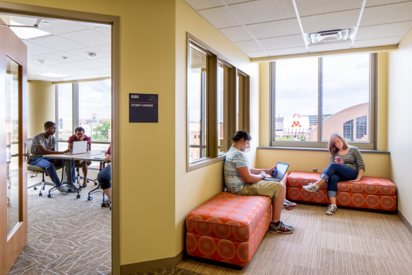 Study and lounge spaces in the 17th Street Residence Hall at the University of Minnesota provide a great view of the surrounding neighborhood.