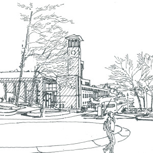 Sketch by Gene Mackey of Asbury Circle on Emory campus