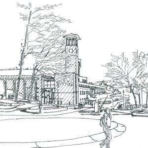 Sketch by Gene Mackey of Asbury Circle on Emory campus