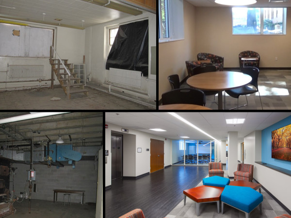 Before and After photographs show how the lower level was transformed into an open and bright collection of social and study spaces.