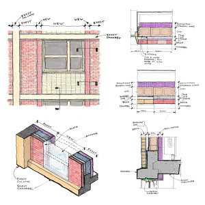 These sketches illustrate the bridging of new to existing waterproofing strategies.
