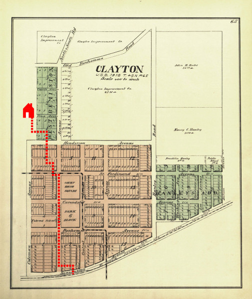 Clayton was formally platted in 1878. The walk route is shown in red.