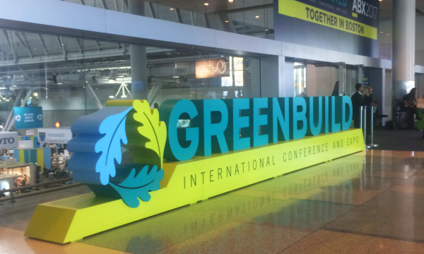 Entrance sign at the 2017 Greenbuild Conference in Boston.
