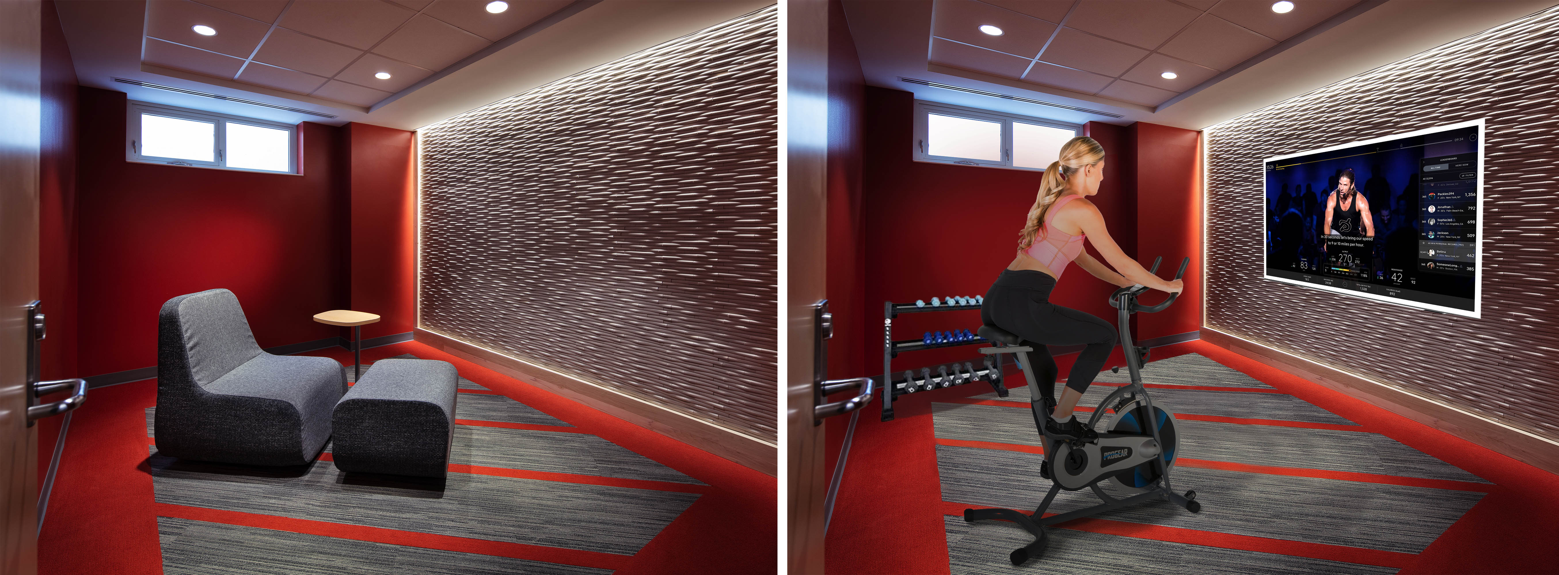 Example: a meditation room transformed to a virtual hub for fitness classes. (click to expand)