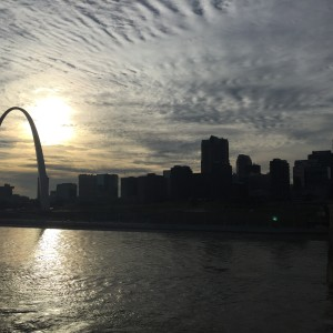Looking west at Downtown from the Eads Bridge.