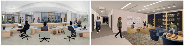 Left: The front desk location was designed to allow staff to guard residents' safety and security while being approachable, welcoming, and helpful. Right: Serving as visual control points, open social areas allow for Increased awareness without being intrusive. (click to enlarge)